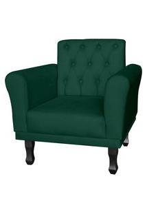 Poltrona Decorativa Classic Pés Luis Xv Suede Verde - Ds Estofados