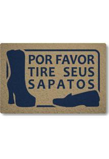 Tapete Capacho Por Favor Tire Seus Sapatos - Bege