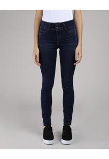 Calça Jeans Feminina Skinny Pull Up Cintura Alta Azul Escuro