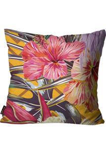 Capa Para Almofada Premium Peluciada Mdecore Floral Colorido 45X45Cm Amarelo
