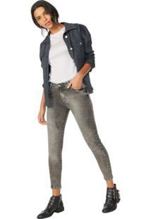 Calça Jeans Skinny Black Marmorizada