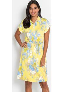Vestido Com Abotoamento Frontal Floral Amarelo