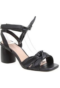Sandália Couro Shoestock Lace Up Cali Salto Bloco Feminina - Feminino-Preto