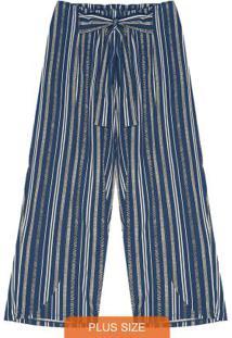 Calça Plus Size Pantacourt Secret Glam Azul