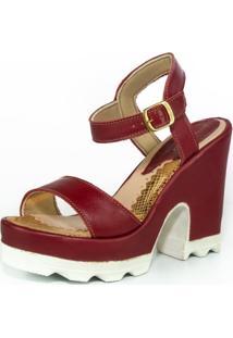 Sandália Feminina Top Franca Shoes Plataforma Salto Grosso Vinho