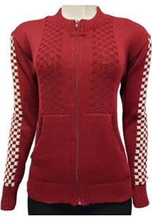 Jaqueta Katlen Tricot Modelo Quadr Feminina - Feminino-Vermelho