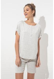 Conjunto Pijama Acuo 2 Peças Curto Listras Feminino - Feminino-Cinza