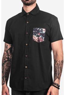 Camisa Hermoso Compadre Bolso Estampado Masculina - Masculino-Preto