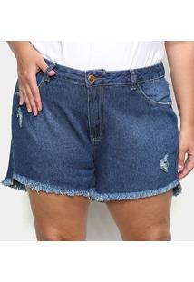 Shorts Jeans Cambos Plus Size Básico Puídos Feminino - Feminino-Azul