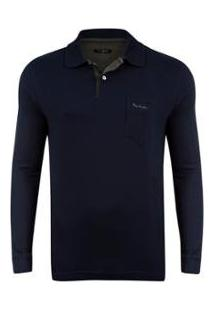 Camisa Polo Pierre Cardin Jacquard Masculina - Masculino-Marinho