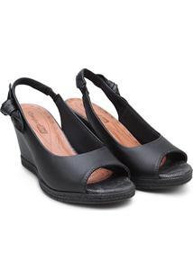 Sandália Comfortflex Chanela Anabela Alta Feminina - Feminino-Preto