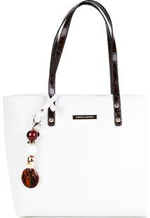 Bolsa Loucos & Santos Shopper Plaquinha Chaveiro Feminina - Feminino-Branco