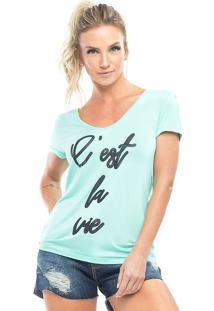 """Camiseta """"C'Est La Vie""""- Verde Claro & Preta- Vestemvestem"""