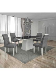 Conjunto De Mesa Com 4 Cadeiras Pampulha Ii Branco E Cinza