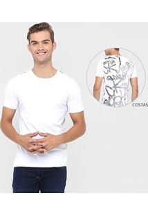 Camiseta Calvin Klein Estampado Costas Grafite - Masculino-Branco