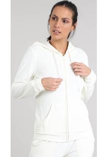 Blusão Feminino Esportivo Ace Em Plush Com Capuz Off White