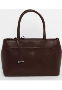 Bolsa Em Couro Com Bag Charm - Vinho- 23X32X12Cmcapodarte