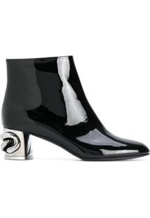 Casadei Ankle Boot 'Maxi Chain' De Couro - Preto