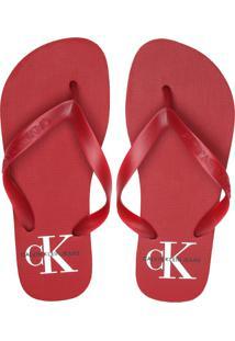 Chinelo Calvin Klein Logo Vermelho