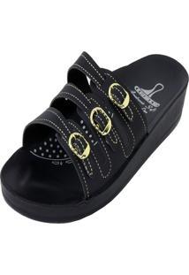 Chinelo Ortopédico Rossi Shoes 3 Fivelas Preto