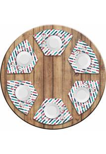 Jogo Americano Love Decor Para Mesa Redonda Wevans Riscos Colorido Kit Com 6 Pçs