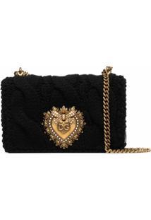 Dolce & Gabbana Bolsa Tiracolo Devotion Tricô - Preto