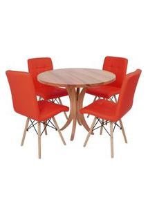 Conjunto Mesa De Jantar Tampo De Madeira 90Cm Com 4 Cadeiras Gomos - Vermelho