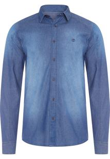 Camisa Jeans Masculina Estonada - Azul