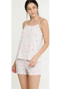 Pijama Feminino Floral Alças Finas Marisa