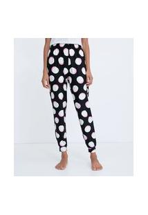 Calça De Pijama Jogger Com Estampa De Bolas Toque Suave