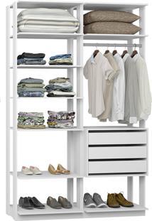 Closet Com 3 Gavetas E 1 Cabideiro Branco Lilies Mã³Veis - Branco/Multicolorido - Dafiti
