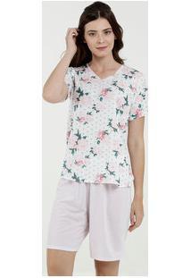 Pijama Feminino Estampa Floral Manga Curta Marisa