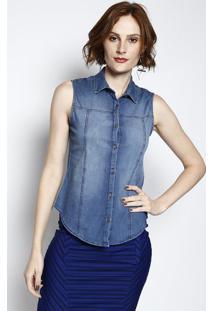 0a3d58df4 ... Camisa Jeans Com Botões- Azul- Cativacativa