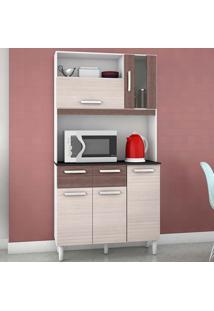 Cozinha Compacta Com 5 Portas E 2 Gavetas Ellen - Amendoa / Capuccino