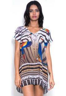 Blusa 101 Resort Wear - Feminino-Branco+Marrom