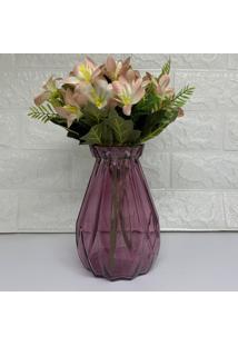 Vaso De Vidro Rosa Com Flores