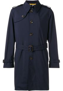 Canali Short Trench Coat - Azul