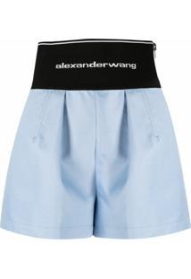Alexander Wang Bermuda Bicolor Cintura Alta Com Estampa De Logo - Azul