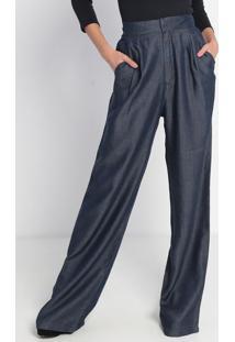 Calça Pantalona Com Prega - Azul- Ennaenna