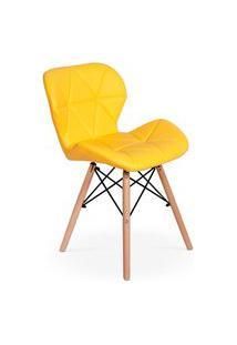 Cadeira Charles Eames Eiffel Slim Wood Estofada - Amarela
