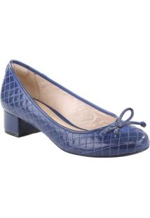Sapato Tradicional Texturizada Com Laço- Azul Escuroarezzo & Co.