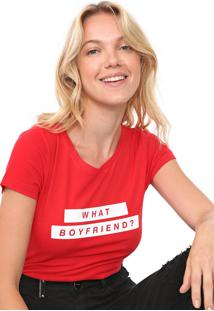 Camiseta Only Reta Lettering Vermelha