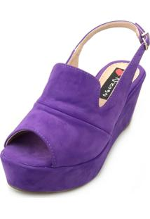 Sandália Anabela Love Shoes Média Fechada Uncle Boot Nobuck Roxo