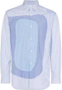 Comme Des Garçons Shirt Camisa Listrada Mangas Longas - White Blue