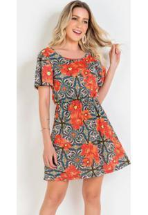 Vestido Com Gota Costas Floral