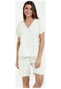 Pijama Feminino Short Doll Estampa Paisley Manga Curta Marisa
