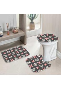 Jogo Tapetes Para Banheiro Geometrico Premium - Único