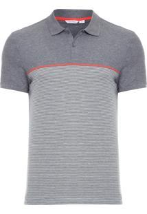Camisa Polo Xadrez - Cinza