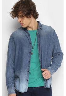 Camisa Jeans Replay Basic Manga Longa Masculina - Masculino-Azul