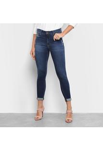 Calça Jeans Skinny Enna Estonada Puídos Cigarrete Cintura Média Feminina - Feminino-Jeans